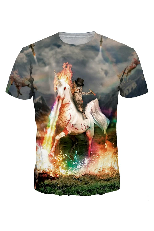 Haloon Unisex 3D Realistic Digital Printed Crewneck Short Sleeve T-shirt Tops
