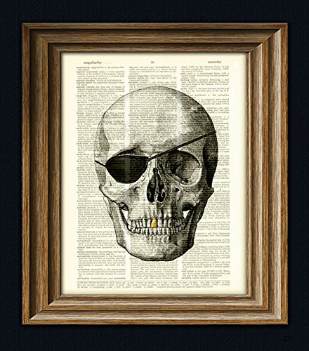 Skull with eye patch and gold tooth over an upcycled dictionary page book art print Pirate Skull