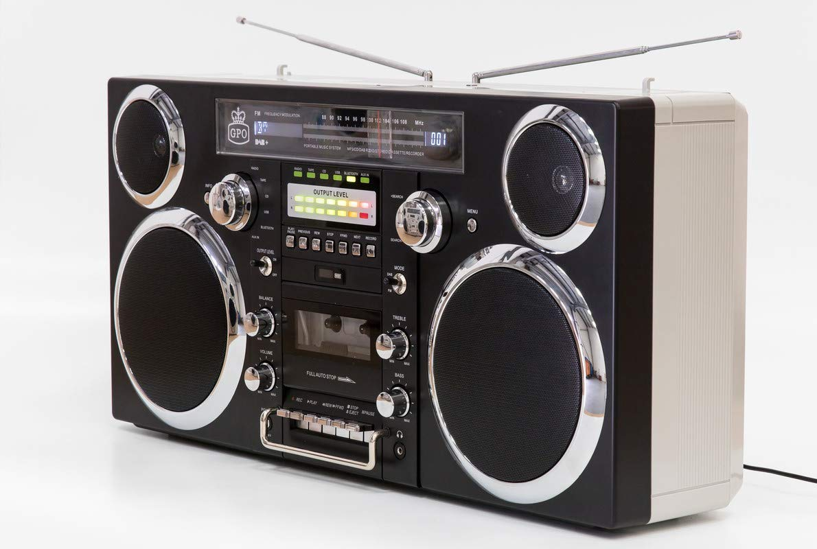 GPO Brooklyn Boombox Portable 1980s Retro Style Music System with CD/Cassette/DAB Radio and Bluetooth - Black by GPO (Image #2)