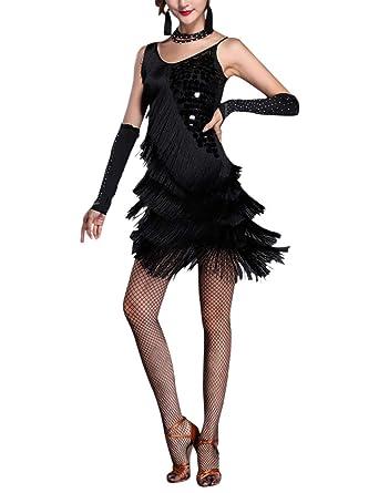 besbomig Adulto Sexy Danza Vestido Lentejuelas Borla Salsa Tango Latín Dancewear - Mujer Ballroom Cocktail Fiesta Concurso De Danza Vestido