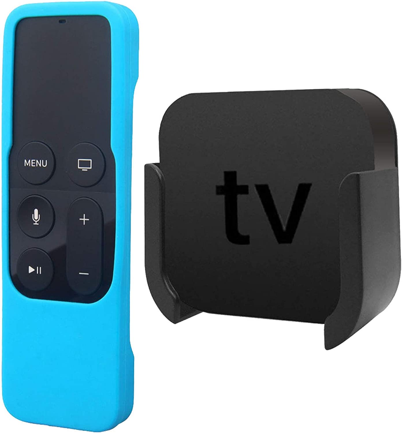 TV Mount Compatible with Apple TV 4th and 4K 5th Generation, Auswaur Wall Mount Bracket Holder Compatible with Apple TV 4th and 4K 5th Gen with Blue Silicone Siri Remote Protective Case Cover