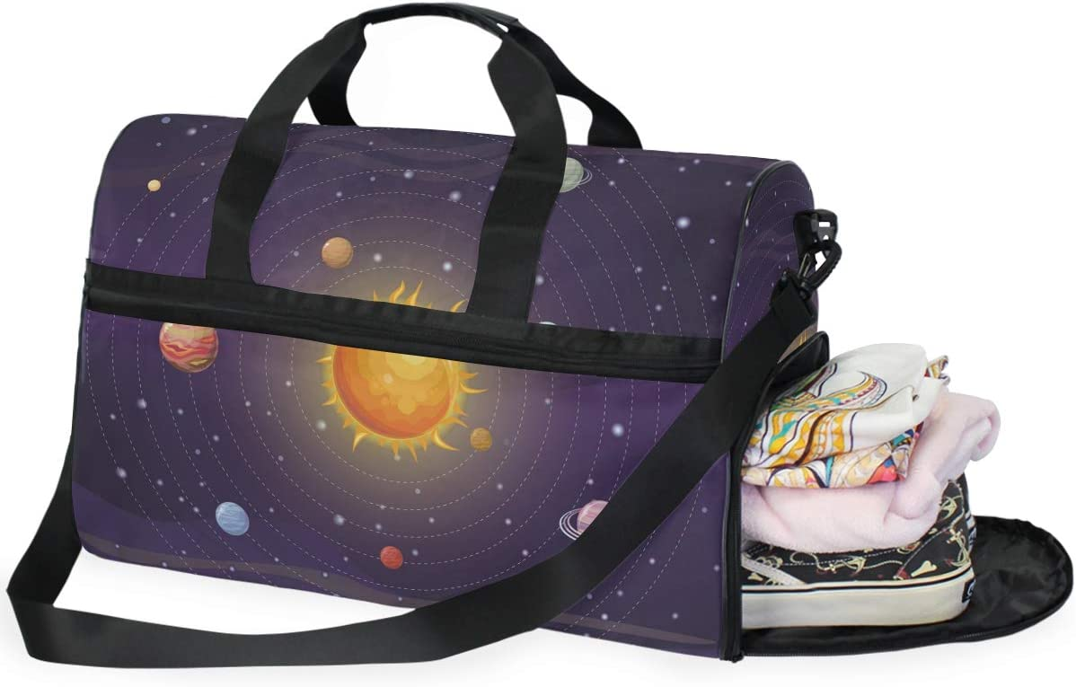 AHOMY Space Solar System Sports Gym Bag with Shoes Compartment Travel Duffel Bag