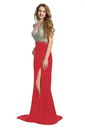 83c7774bd35 Manfei Women s 2019 V-Neck Crystal Beaded Mermaid Long Prom Dress Slit Side  (2