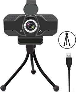 1080P Computer Webcam with Tripod, HD Streaming USB Web Camera Built-in Microphone, Privacy Cover, Support Beauty, Auto Light Correction, Plug and Play, for Video Calling, Conference, Online Classes