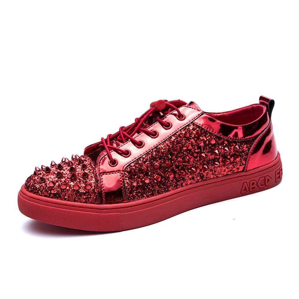 SHENYUAN-cas de la mode Hommes de loisirs britanniques chaussures en cuir PU mode légère plate-forme décontractée mocassins élastique cordon de serrage Rivet Décor anti-slip bout rond chaussures à lac Livid