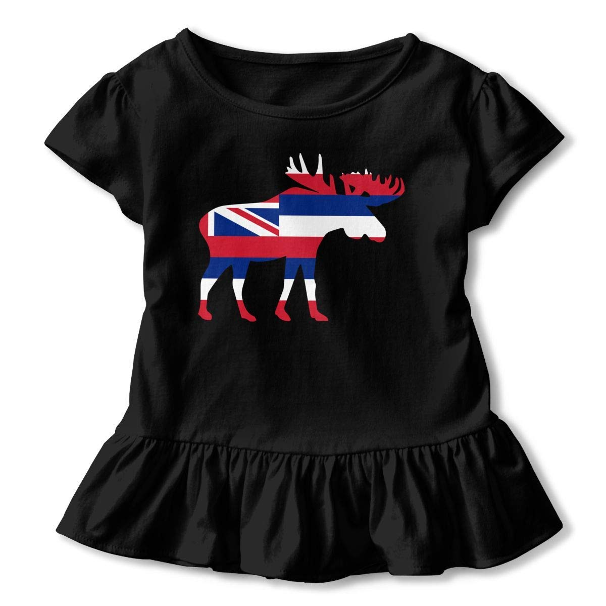 PMsunglasses Short Sleeve Hawaii Moose Shirts for Children Kawaii Blouse Clothes with Falbala 2-6T