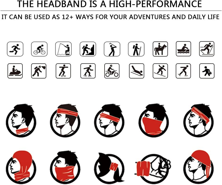 Fishing and Other Outdoor Activities Ambielly Headbands 8 Pack Magic Headwear Bandana Scarf with UV Resistance Protective Gear Tube Mask Neckwarmer for Riding Hiking Motorcycling