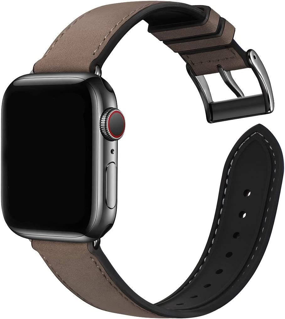 Bestig Compatible with Apple Watch Band , Waterproof Genuine Leather and Silicone Hybrid Strap 38mm 40mm 42mm 44mm for iwach SE Series 6 5 4 3 2 1,Sports Edition(Coffee Band+Black Connector,38mm 40mm)