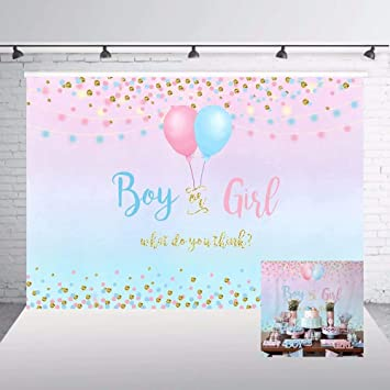 Gender Reveal 10x12 FT Backdrop Photographers,Girl and Baby Boy with Dogs Puppy Cute Figures Congratulations Birthday Theme Background for Baby Birthday Party Wedding Vinyl Studio Props Photography