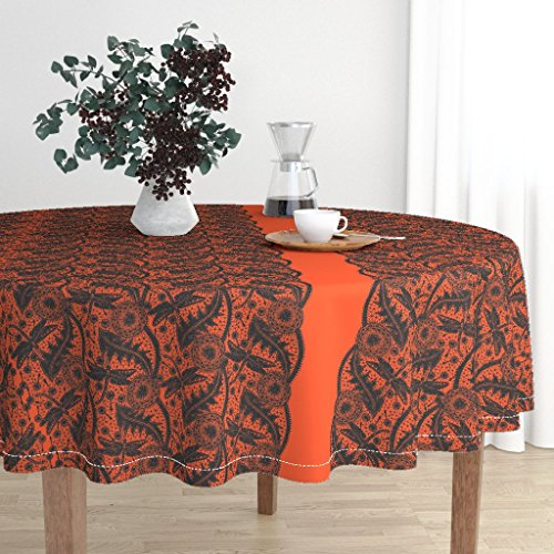Roostery Round Tablecloth - Lace Halloween Dragonfly Insect Bug Orange Black by Peacoquettedesigns - Cotton Sateen Tablecloth 90in ()