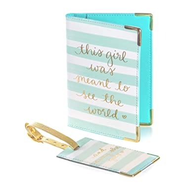 "Dayna Lee Passport Cover Holder And Luggage Tag Set In Gift Box, ""This Girl Was Meant To See The World"""