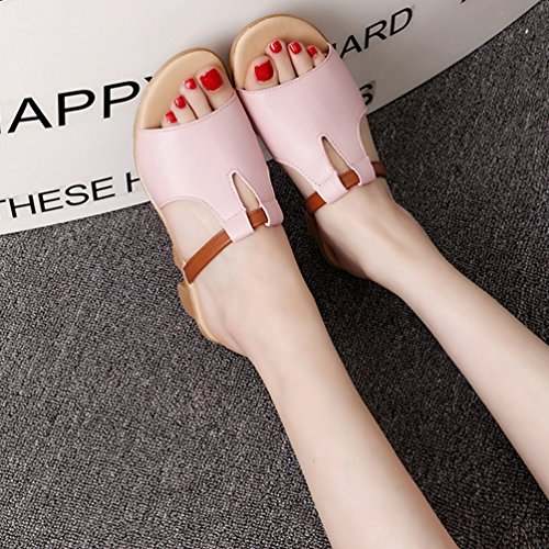 Pelle Pink da Peep con Sandali Spiaggia Toe LvRaoo Estate Zeppas Scarpe Pantofole PU On Slip Donne qZUHRWv