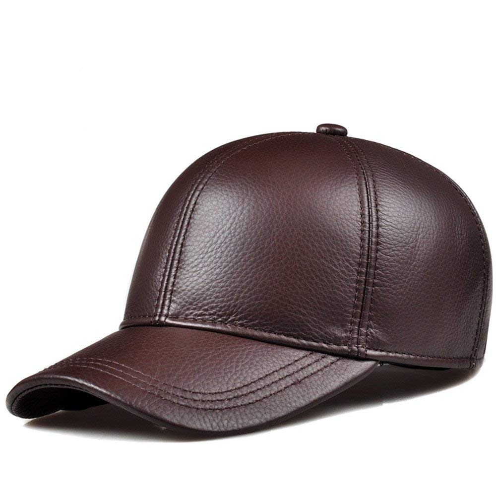 Thundertechs The Girlfriend Boyfriend Ladies Winter Baseball Cap Hat Women Children Leather Casual Male hat Thin Peaked Cap (Color : Classic Brown, Size : XL (58-60cm))