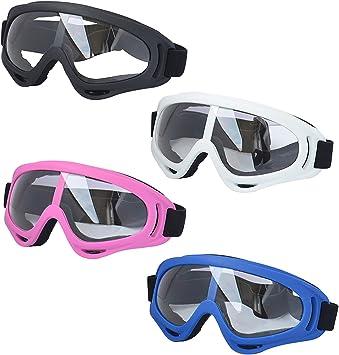 Youth LJDJ Motorcycle Goggles Men Glasses Set of 4 Boys Women Girls Dirt Bike ATV Motocross Adjustable UV 400 Outdoor Sports Tactical Dust-Proof Combat Military Glasses for Kids