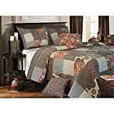 2 Piece Grey Floral Twin Size Patchwork Quilt, Flower Medallion Geometrical Traditional, Brown Burgundy Spring Green Gray Geomectric Flowers, Cottage Country Lake House, Cotton, Synthetic Fiber