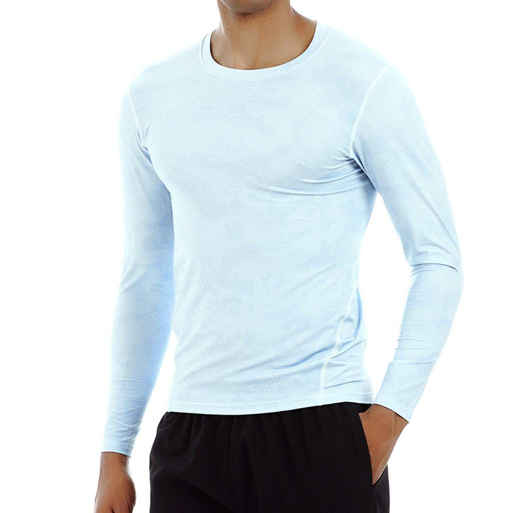 Sharemen Printed Long Sleeve T-Shirt Mens Sports Running Fitness Sweat Breathable Quick-Drying Sports Casual Top