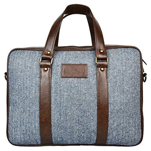 Hamelin Unisex Tweed and Vegan Leather Laptop Messenger Bag for 13 & 14 inch laptops (Steel Blue Herringbone)