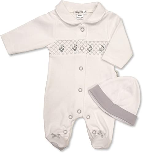 with Tags Tiny Premature Preemie Baby White /& Grey Duck Romper Suit hat