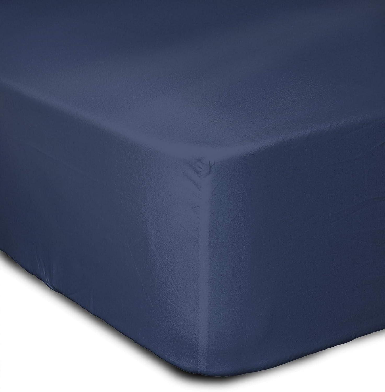 140x190x25 cm HP-62643 Bleu Coton Home Linge Passion Drap Housse 57 Fils