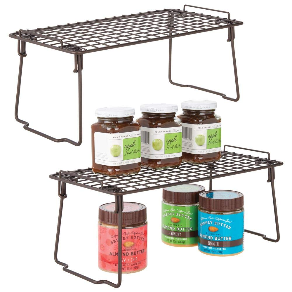 """mDesign Metal Stackable Storage Shelf - 2 Tier Raised Food and Kitchen Organizer for Cabinets, Pantry Shelves, Countertops, Closet, 2 Pack, 7"""" x 14"""" x 6"""" - Bronze"""