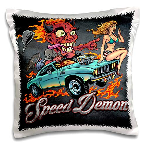 3dRose Flyland Designs - Dark, Devil, Cartoon, Car, Illustration - Speed-Racing Demon with a hot Girl on his hot Rod. - 16x16 inch Pillow Case (pc_295913_1)