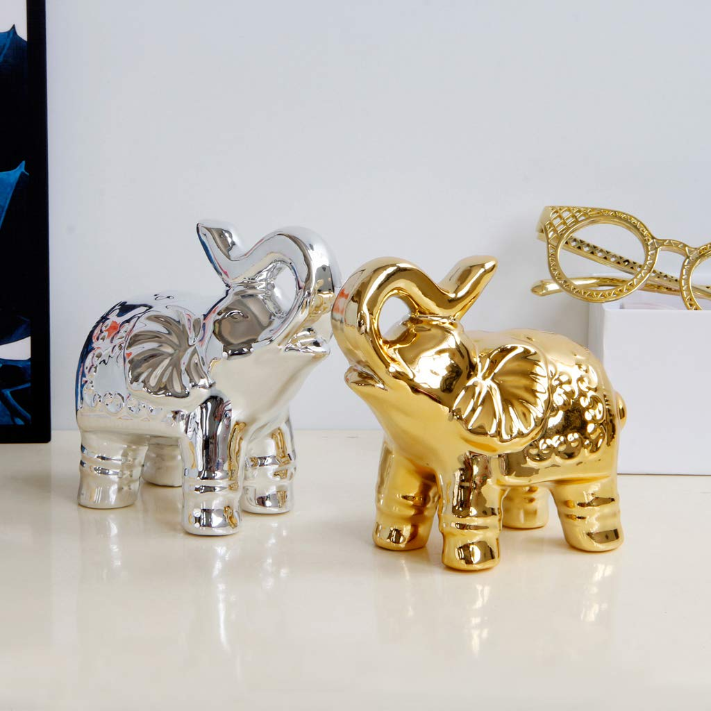 Escultura Elefante de Cer/ámica Adornos para Mesa en Dormitorio Plata Sala de Estar
