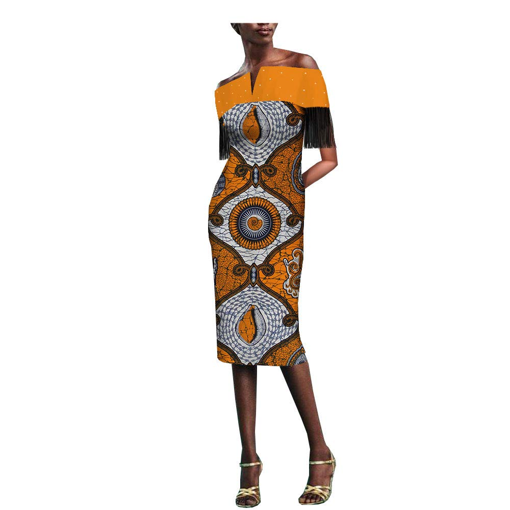 4061j African Ankara Print Women Dress with Tassel and Rhinestone Slash Neck Knee Length 100% Batik Cotton Made AA1825077