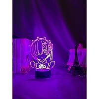 Anime Rem Re Zero Figure Night Light LED Touch Sensor Color Changing Lamps Desk 3D Lamp for Bedroom Decor Manga Gift…