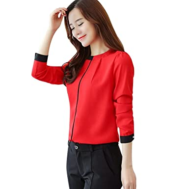 Milktea Damen Tops Bluse Mode Frauen öffnen Schulter Tops Bluse Sexy Floral  Applique Spitze Mesh T-Shirt Camis Bluse(Blau Rot)  Amazon.de  Bekleidung 3ec533c2ec