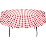 LinenTablecloth 90-Inch Round Polyester Tablecloth Red & White Checker