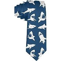 Mens Tie Fierce Shark Fashion Silk Skinny Ties Unique Gift Neckties