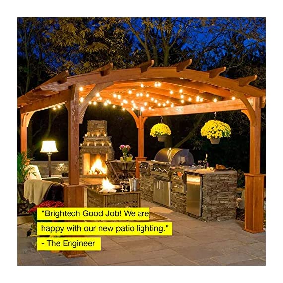 Brightech Ambience Pro - Waterproof LED Outdoor String Lights - Hanging, Dimmable 2W Vintage Edison Bulbs - 48 Ft Commercial Grade Patio Lights Create Cafe Ambience In Your Backyard - ITALIAN BISTRO STYLE LIGHTS TRANSFORM YOUR GAZEBO OR PORCH INTO A RETREAT: Brightech Ambience Pro market lights set the mood so you can sit back, relax, and enjoy the evening. The lights are bright enough to BBQ by without a flashlight, but dim enough not to overwhelm. Perfect for entertaining or a romantic dinner!. --- Bulb Spacing: 3 Feet. --- Connections: Up to 40 strands total..--- DECORATIVE RETRO EDISON FILAMENTS CREATE GREAT AMBIENCE: Use dimmable, pergola canopy lights for your wedding reception, birthday party, or other event. These Edison strings with exposed filaments give off a warm glow reminiscent of old world bistros. Increasingly popular as indoor lighting too, for bedrooms, bars and restaurants. Dimming requires LED-compatible dimmer. HEAVY DUTY, COMMERCIAL GRADE WEATHERPROOF STRAND LIGHTS FOR YOUR EXTERIOR: Industrial grade WeatherTite Technology by Brightech makes Ambience Pros durable. These lights are waterproof and have withstood winds blowing at 50 MPH, per reviews! UL listed, and the rubberized, flexible cord is thicker than a traditional rope. Confidently leave these lights on display year round. - patio, outdoor-lights, outdoor-decor - 61KR0zzQmcL. SS570  -