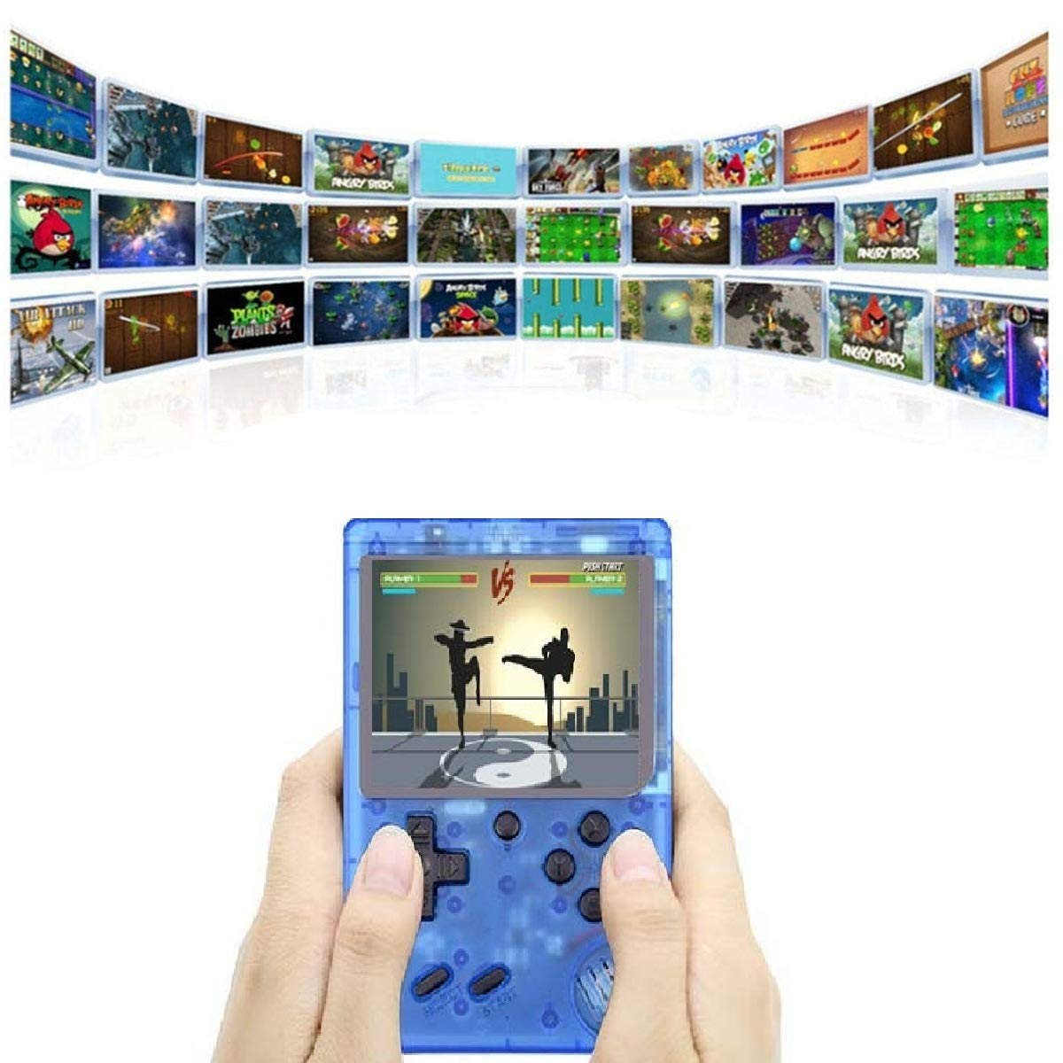 360 Retro Games Handheld Game Console, 2 Players, Classic Game Console, 3 Inch Screen USB Charger Supports TV, FC System Plus Extra Joystick Mini Controller, Gifts for Kids Children.(Blue) by Haberman (Image #2)