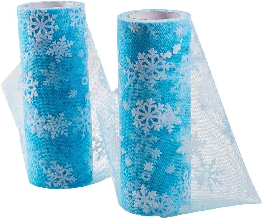 BENECREAT 2 Rollos 18m Tela de Red de Rollo de Tul de Copo de Nieve para Manualidades Bricolaje Falda de Tutú Vestido de Boda Suministros 15.2cmx9m Cada Uno - Azul Claro