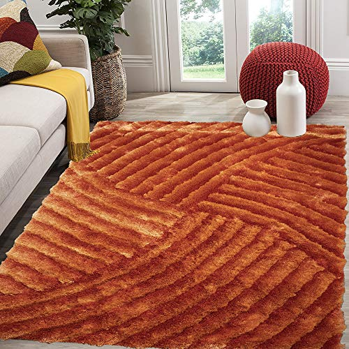 Burnt Orange Bright Orange Rust Dark Orange Colorful 5x7 Large Living Room Bedroom Fluffy Fuzzy Flokati Striped Patterned Plush Soft Modern Contemporary Cozy Sale - SAD 259 Orange