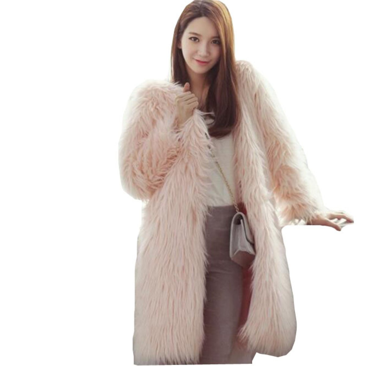 LQABW Abrigo De Piel De Imitación De Las Mujeres Chaqueta Ocio De Moda