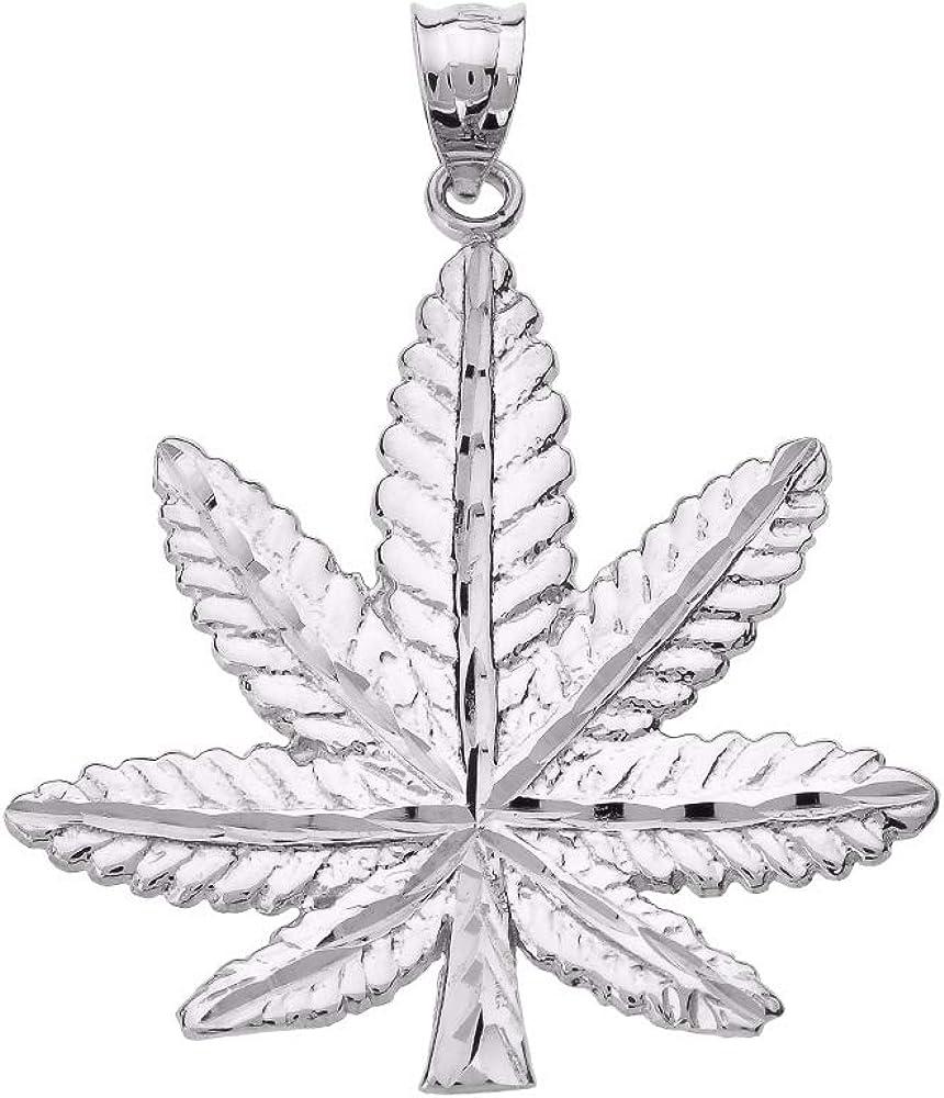 Mis Tesoritos Colgante Plata esterlina Cannabis Leaf Marihuana (Longitud de Cadena Disponible 40cm- 45cm - 50cm - 55cm)