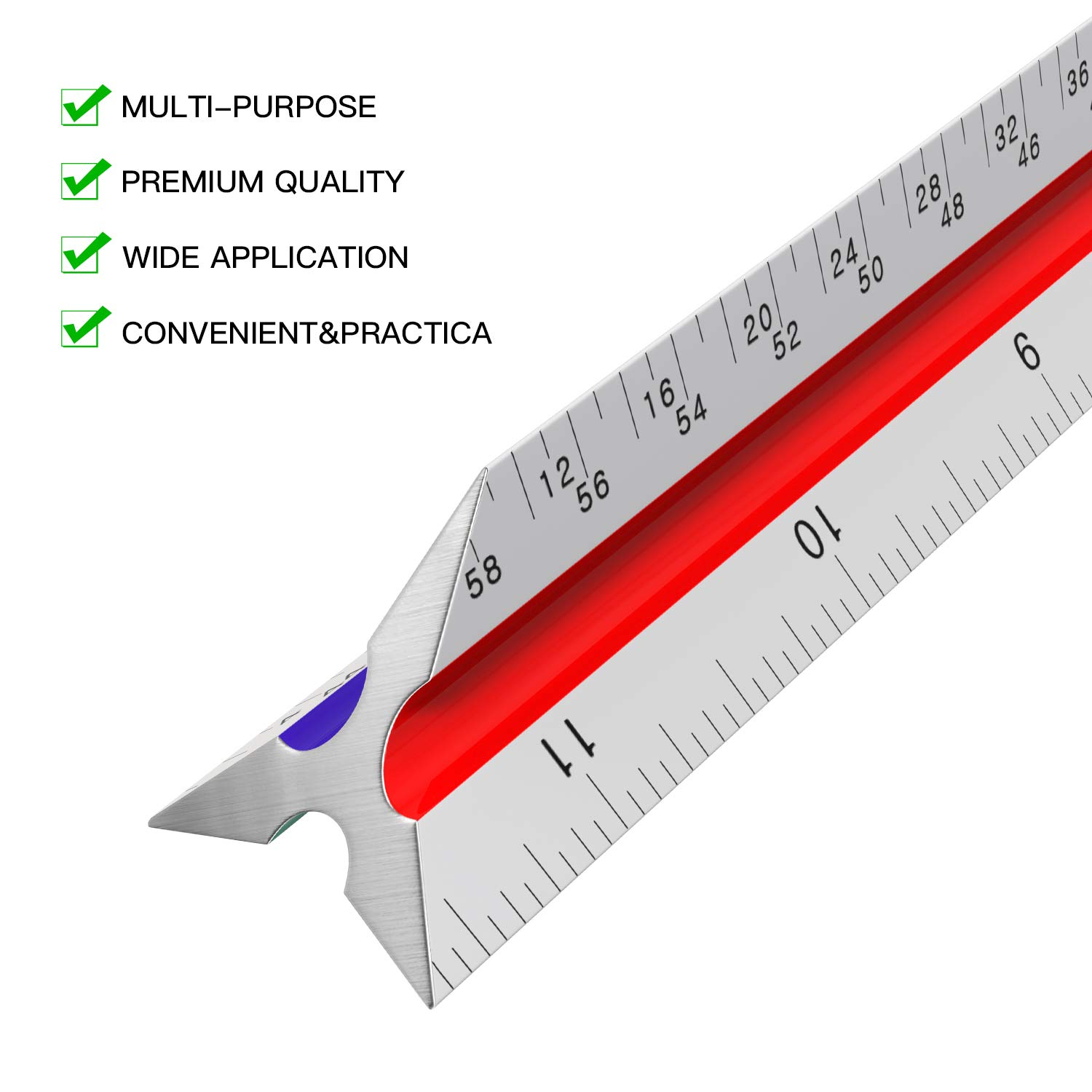 Architectural Scale Ruler - 12'' Aluminum Triangular Architect Scale Ruler for Engineering Scale, Drafting Ruler, Metal Scale Ruler, Blueprint - with Imperial Measurements by Leyaron (Image #4)