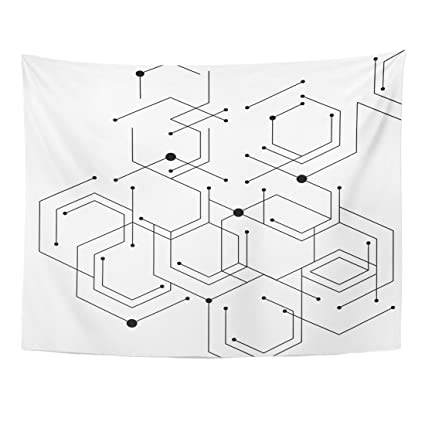 Amazon Com Tompop Tapestry Geometric Lines And Dots Pattern Modern