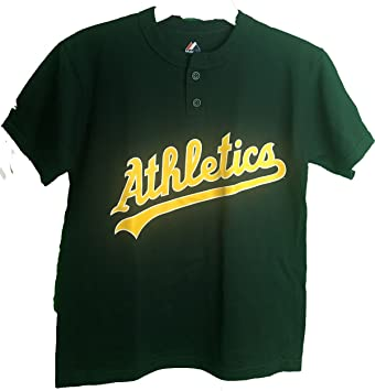 f30df999 Amazon.com : Majestic MLB Oakland Athletics Two Button Youth Jersey T-Shirt  : Sports & Outdoors