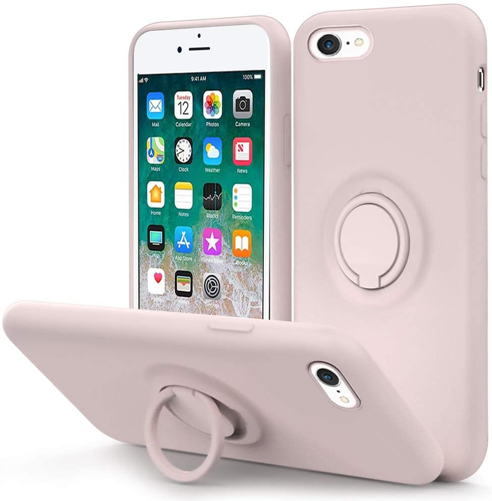 MOCCA for iPhone SE 2020 Case, iPhone 8 case, iPhone 7 Silicone Case with Kickstand | Anti-Scratch | Soft Microfiber Lining Full-Body Shockproof Protective Case for iPhone 7/8/SE 2nd - Sand Pink