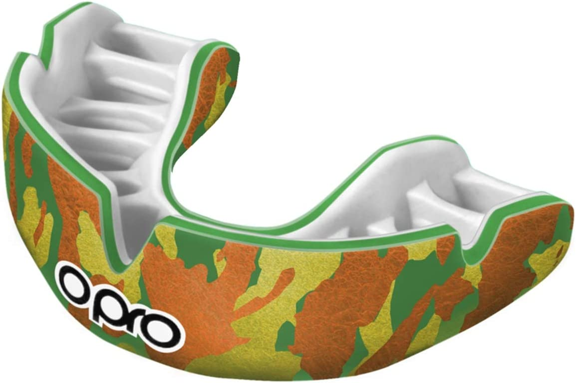 Hockey Boxing OPRO Power-Fit Mouthguard Gum Shields For Rugby 18 Month Extended Dental Warranty Ages 10+, Camo - Green//Gold BJJ GAA and Other Combat Sports