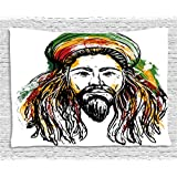 Rasta Tapestry by Ambesonne, Rasta Man Jamaican Island Theme Reggae Folk Culture Concept Sketchy Portrait Image, Wall Hanging for Bedroom Living Room Dorm, 80 W X 60 L Inches, Multicolor