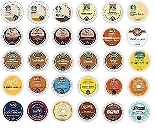 30 Pack - Variety Flavored Coffee Sampler K-Cup for Keurig K Cup Brewers and 2.0 brewers - From Top Brand Names Green Mountain, Folgers, Van Houtte, Gloria Jean's, Timothy's and Starbucks (K Cups Best Price)