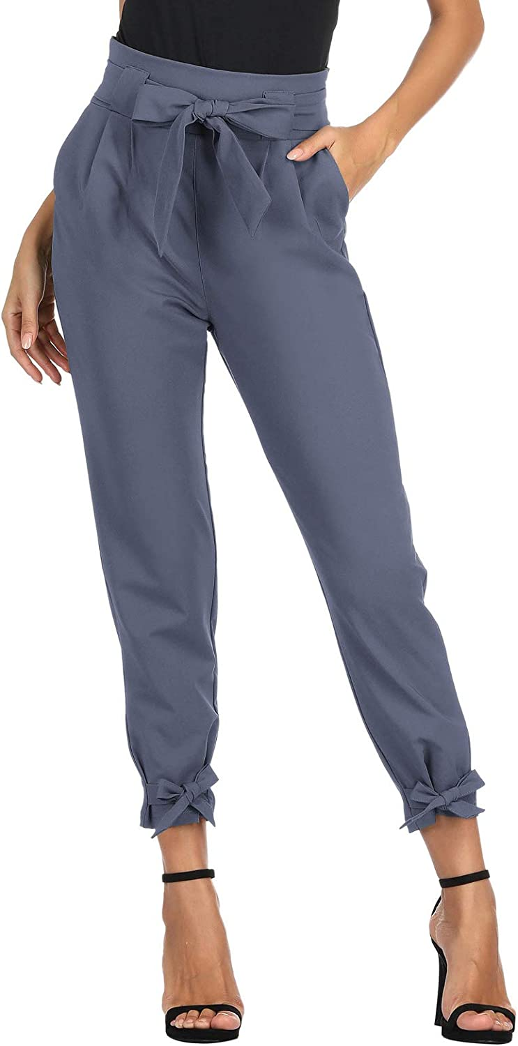 GRACE KARIN Womens Pants Trouser Slim Casual Cropped Paper Bag Waist Pants with Pockets