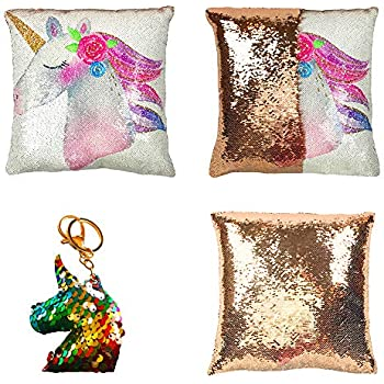Amazon.com: Almohada de lentejuelas de unicornio ...
