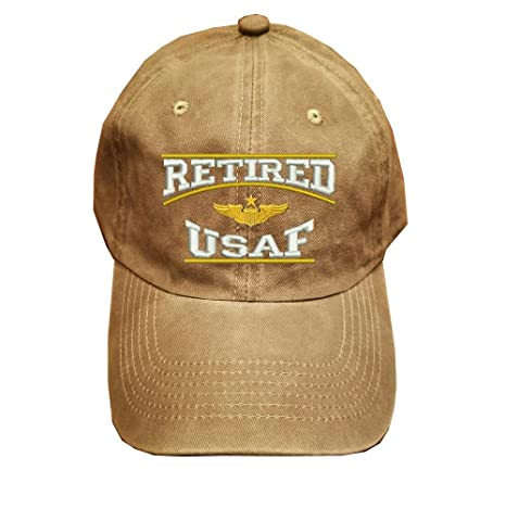 0b8d79d677e Retired USAF U.S.Air force Retired Military 100% Wash Cotton Hat KHAKI