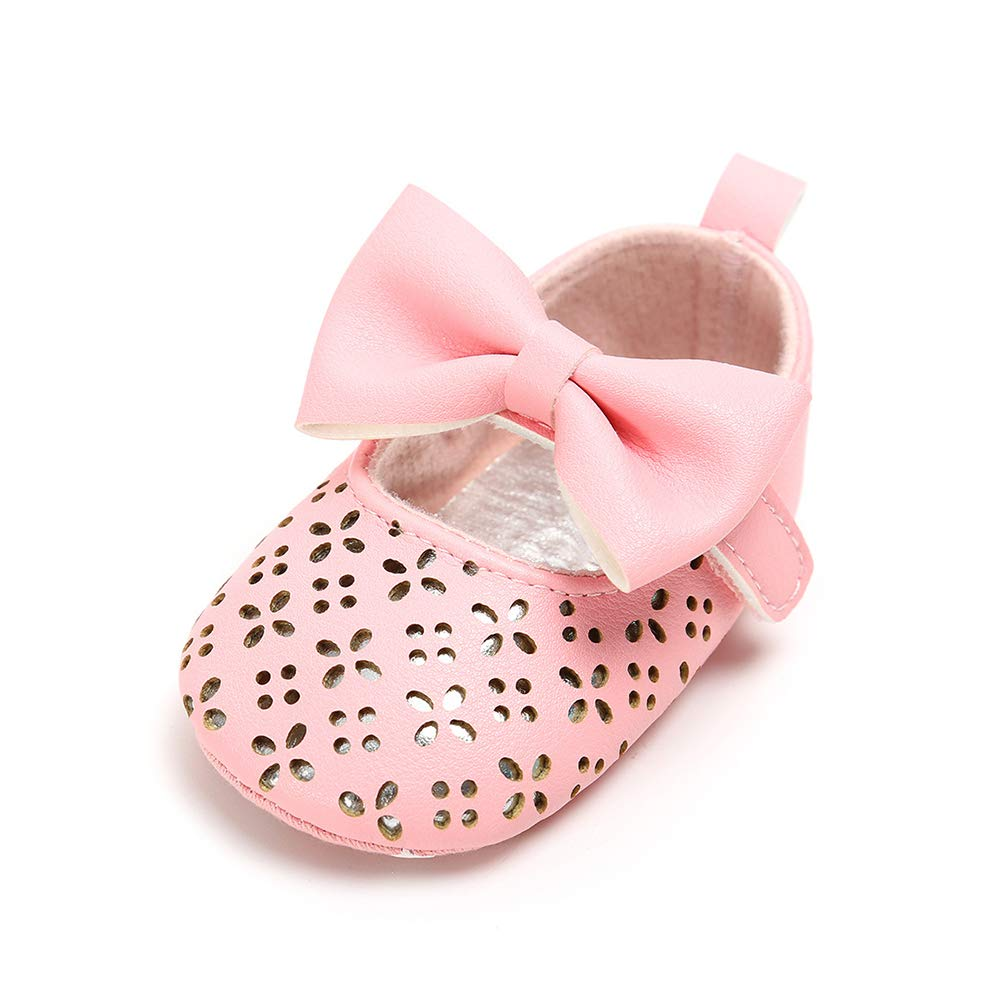 Alamana Pretty Bowknot Hollow-Out Infant Baby Girls Soft Sole Anti-Slip Prewalker Toddler Shoes White 12cm