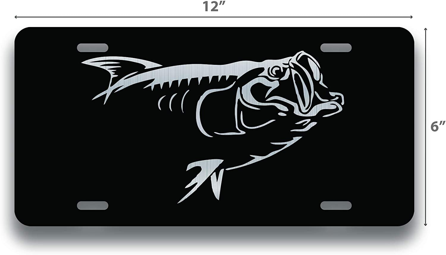 Car Truck RV Trailer Wall Shop Man Cave 6-Inches by 12-Inches DHDM Bass Fish License Plate Tag Vanity Novelty Metal VLP465 Etched Metal