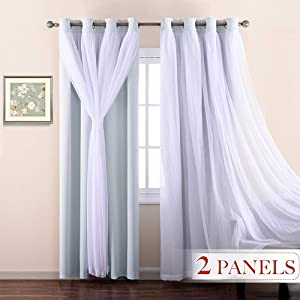 NICETOWN Double-Layer Nursery Bedroom Thermal Insulated Dressing White Crushed Sheer Over Blackout Curtains for 17 inch-40 inches Width Window (1 Pair, Platinum, Tie Backs Included)
